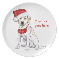 Yellow Labrador dog in Santa hat and bow Christmas