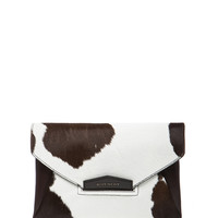 Medium Antigona Cow Print Hair Calf Envelope in Dark Brown