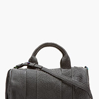 BLACK RUBBERIZED LEATHER IRIDESCENT ROCCO DUFFLE BAG