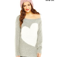 Fuzzy Heart Sweater
