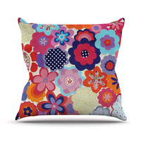 KESS InHouse Patchwork Flowers Throw Pillow