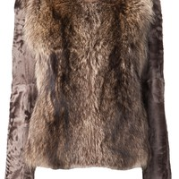 YVES SALOMON short raccoon dyed jacket