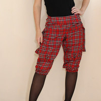 Warm Shorts Red Plaid Pants Capri Pants for Women