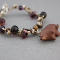 brown bear bracelet polymer clay bear charm bracelet purple and brown