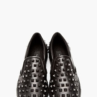 BLACK LEATHER RUBBER STUD LOAFERS