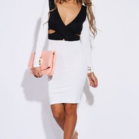White/Black Cut Out Wrap Dress