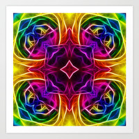 Rainbow Rose Kaleidoscope Mandala Art Print by Hippy Gift Shop