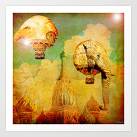 Hot-air balloons animal in Moscow Art Print by ganech