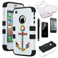 Pandamimi ULAK(TM) Lastest Pattern Hybrid High Impact Soft TPU + Hard PC Case Cover for Apple iPhone 4S 4 4G with Screen Protector and Stylus