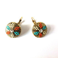 Flower Earrings, Orange Aqua Blue, White, Beaded, Rhinestones, Round