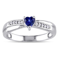 Lab-Created Heart-Shaped Sapphire and Diamond Accent Promise Ring in Sterling Silver