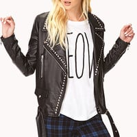High-Voltage Faux Leather Jacket