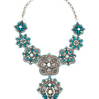 Crystal and Resin Bib Necklace, Blue