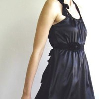 Little black dress with hand made flower sash by MyLolaFashion