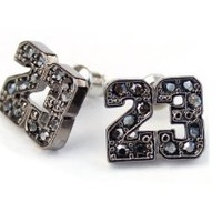 Black Ice CZ Michael Jordan Inspired 23 Stud Earrings