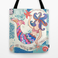 Mermaid Tote Bag by Janet Broxon
