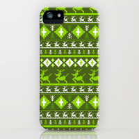 Retro Reindeer Christmas Stripe iPhone & iPod Case by markmurphycreative