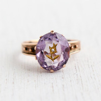 Antique Victorian 10k Rose Gold Victorian Ring - Size 5 Rose of Sharon Gilded Flower Diamond & Rose of France Amethyst Jewelry / 1880s Rare