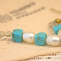 Turquoise/Pearl Dangle Earrings