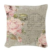 Vintage Roses And Cupid Woven Throw Pillow
