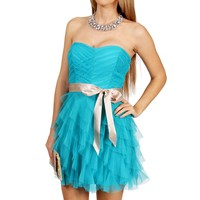 SALE-Ocean/Champagne Cascade Prom Dress