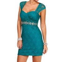 SALE-Emerald Embellished Lace Dress