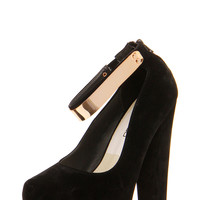 Allie Plaque Detail Ankle Strap Platform Heels