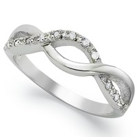 Diamond Ring, Sterling Silver Diamond Infinity Ring (1/10 ct. t.w.)