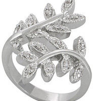 City by City Ring, Silver-Tone Cubic Zirconia Leaf Ring (2 ct. t.w.)