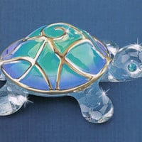"Turtle Max Reptile Gifts :: - Turtles, Sea Turtles :: Turtle Collectibles and Figurines :: ""Tiffany"" Glass Turtle"