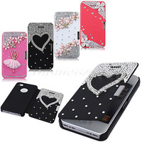 New PU Leather Magnetic Flip Hard Case Cover For iPhone 4G 4S Flower Heart Bling