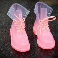 Rosette Spectrum-01 Jelly Lace Up Rain Boot (Hot Pink) - Shoes 4 U Las Vegas