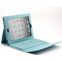 O-SKY Wireless Bluetooth Silicone QWERTY Keyboard Case Cover Stand for Apple iPad 2 2nd 3 3rd 4 4th Gen Generation Tablet Blue PU Leather