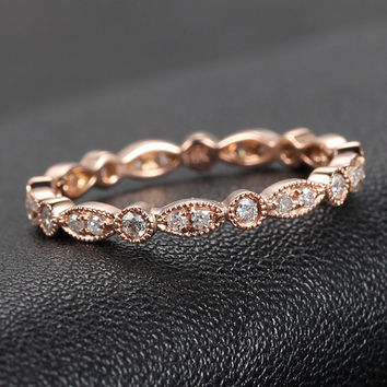 Art Deco Ring, Art Deco Antique Style - .32ct Diamond Ring Milgrain in 14K Rose Gold /Yellow Gold/White Gold Wedding Band Anniversary Ring