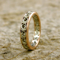 Handmade Two-Tone 14K White & Rose Gold Wedding Band with Scrolls and Warm White Finish Size 4.5/3.5mm