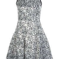 Gold Rose Print Jacquard Dress - Dresses - Clothing - Miss Selfridge