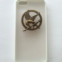 Shapotkina Handmade DIY Punk Style Hunger Game transparent White case for iPhone 5 5S phone cover+Westlinke Logo Stylus