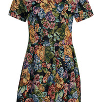 Cara Floral Tapestry Tulip Skirt Dress