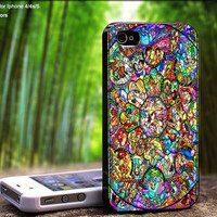 All Disneys Heroes on Beautiful Stained Glass Colorful Design For iPhone 5 / 4 / 4S - Samsung Galaxy S3 / S4 ( Black / White case )