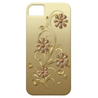 Gold Gradient Pink Gold Flowers Swirls iPhone5