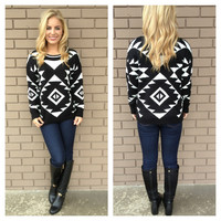Black & White Geometric Sweater