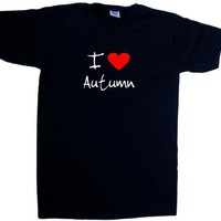 I Love Heart Autumn Black V-Neck T-Shirt