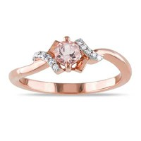 4.0mm Morganite and Diamond Accent Promise Ring in Rose Rhodium Plated Sterling Silver