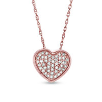 1/8 CT. T.W. Diamond Cluster Heart Pendant in 10K Rose Gold