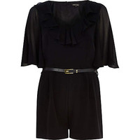 BLACK FRILL TRIM BELTED PLAYSUIT