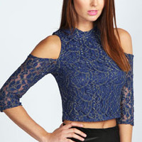 Freya Metallic Lace Cut Out Shoulder Top