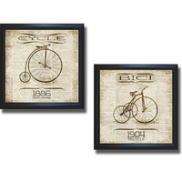 SD Graphics 'Vintage Bicycle Collection' 2-piece Framed Canvas Art Set