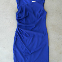 .Gathered Cobalt Dress [4799] - $42.00 : Vintage Inspired Clothing & Affordable Dresses, deloom | Modern. Vintage. Crafted.