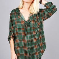 Tab Plaid Blouse