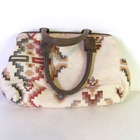 vintage purse. southwestern shoulder bag. tapestry handbag.